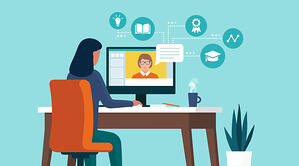 illustration of girl at computer learning from teacher online